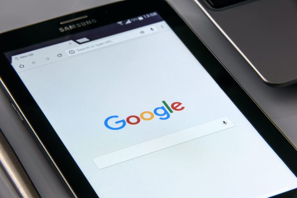 Tablet displaying Google