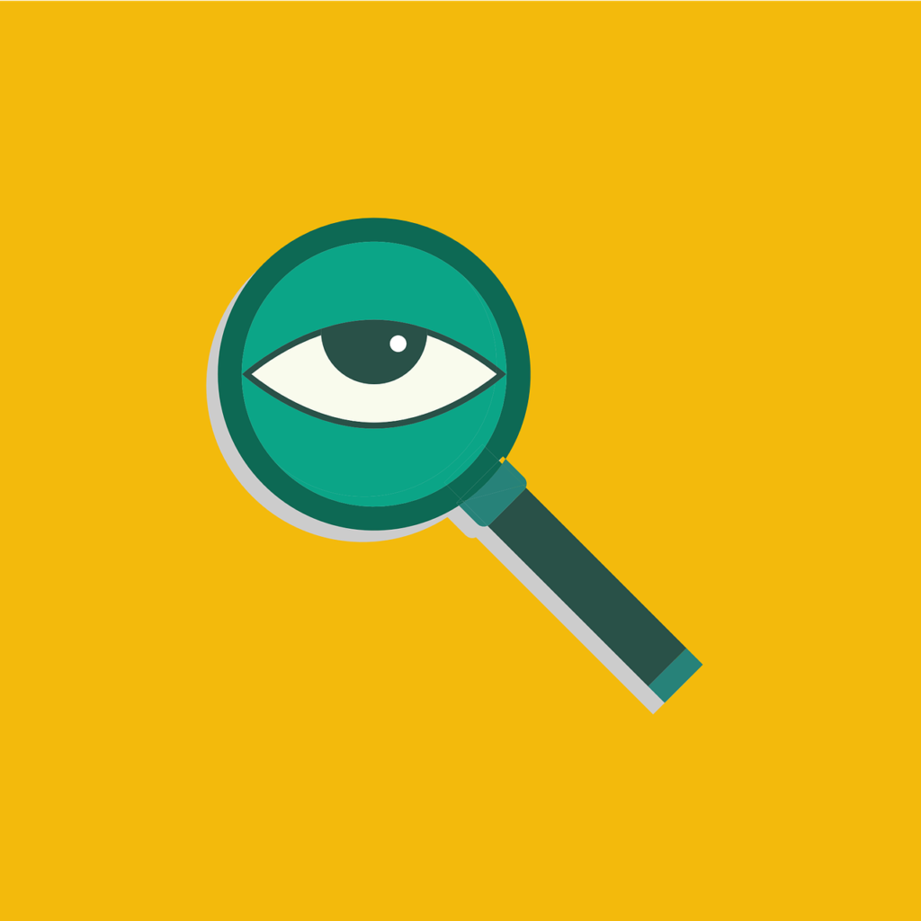 A green magnifying glass with an eye in it on a yellow background.
