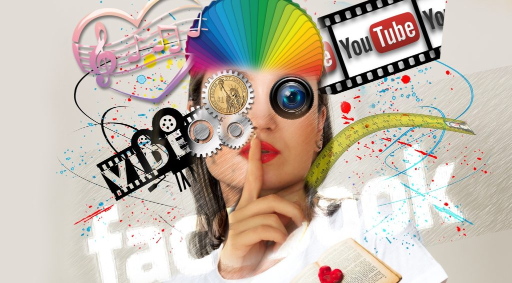 Illustration of a woman's face watching media, like Youtube and Facebook.