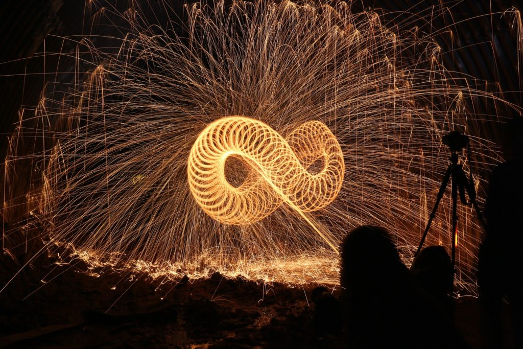 Infinity sign made from fire.