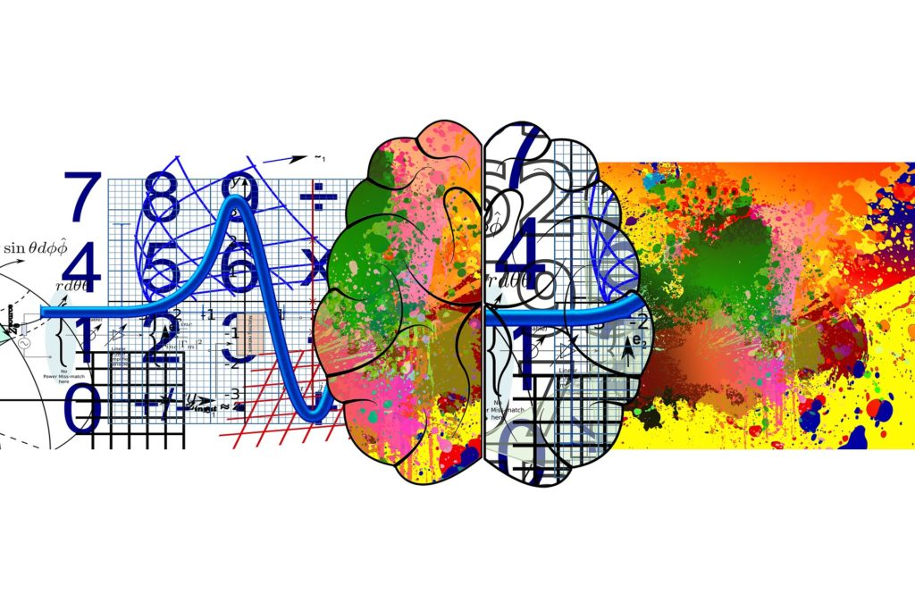 Illustration of a brain processing different functions.