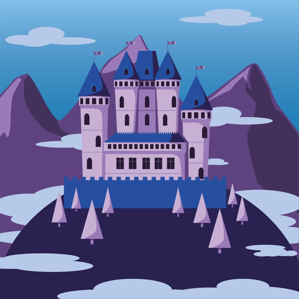 A drawing of a castle in front of mountains.