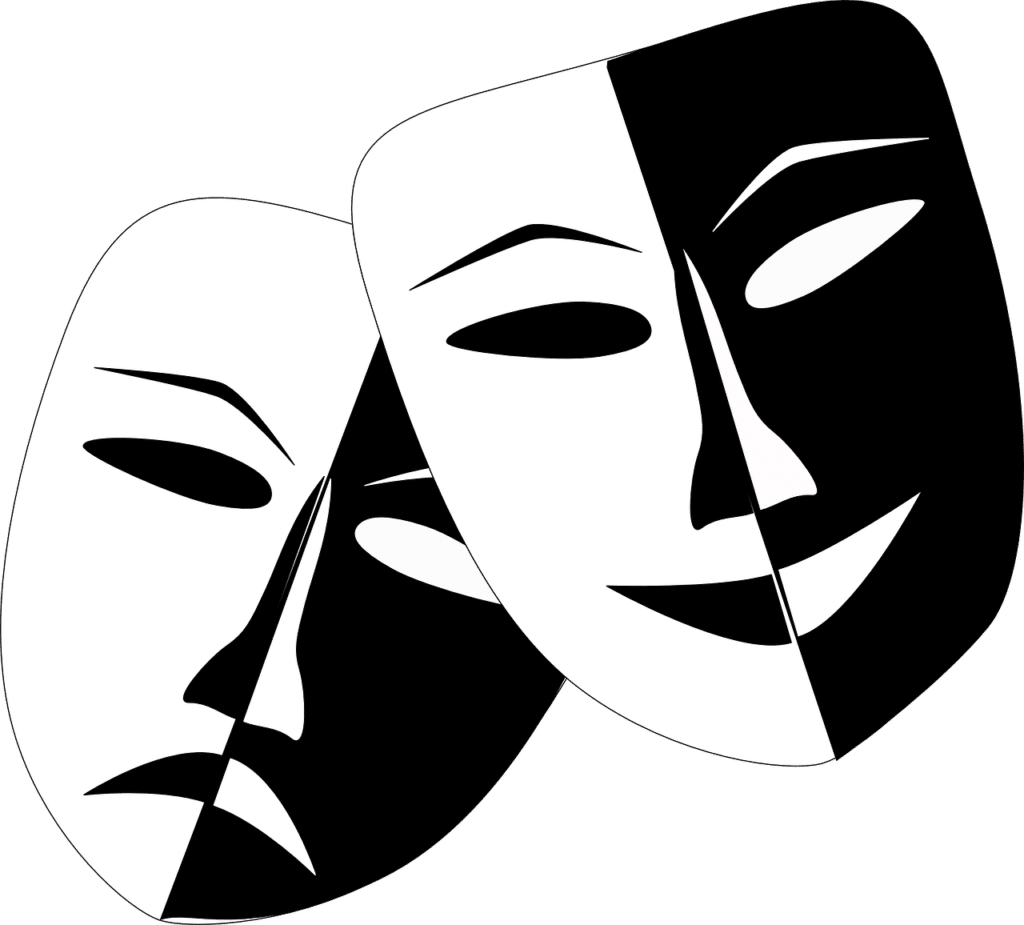 Illustration of classic masks depicting drama and comedy.