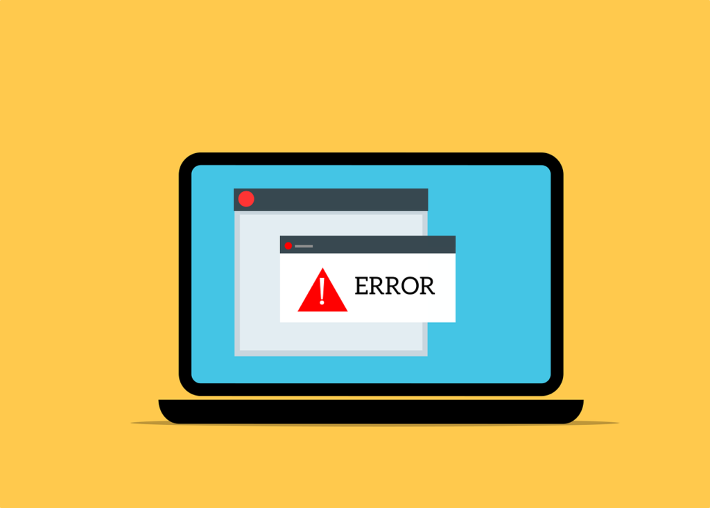 Drawing of a laptop displaying an error screen.