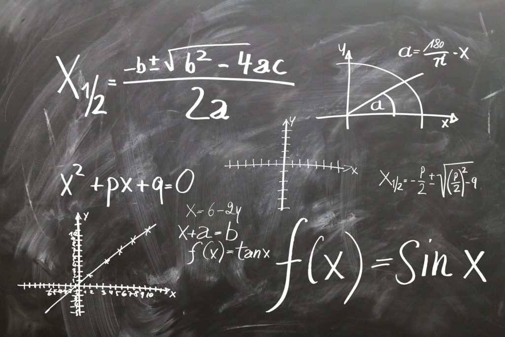 Mathematic theories on a chalkboard